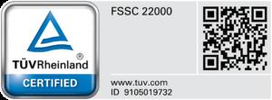 NCI FSSC certification logo by TUV Rheinland
